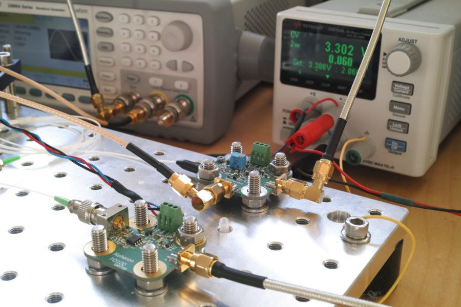 Setup for measuring the effect of current modulation on the LD100 laser