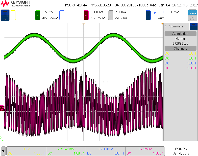 Amplitude and frequency modulation scope screenshot @ 100kHz