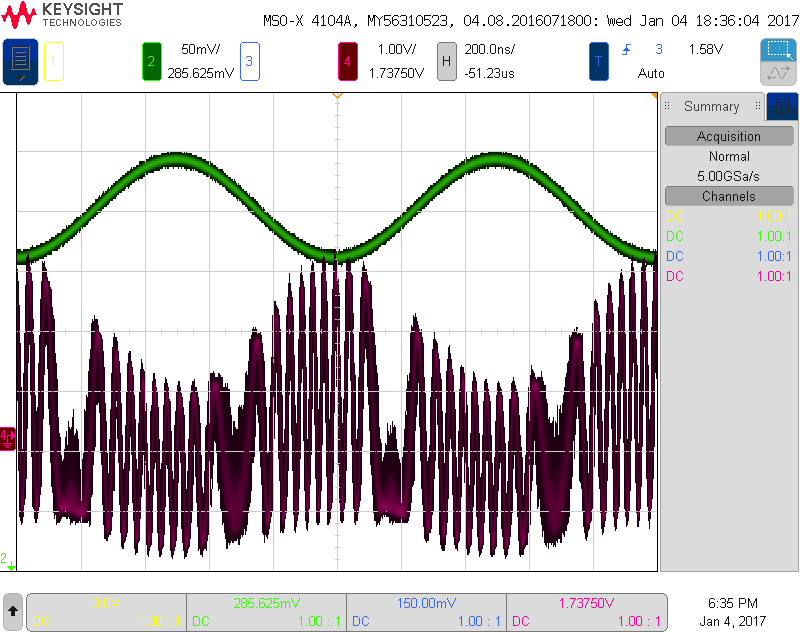 Amplitude and frequency modulation scope screenshot @ 1Mhz