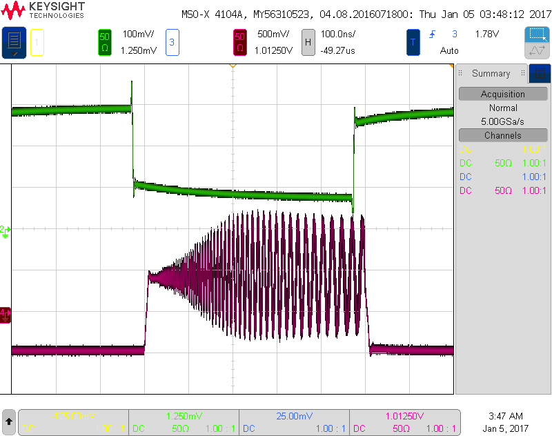 Amplitude and frequency modulation scope screenshot @ 1MHz, 5V