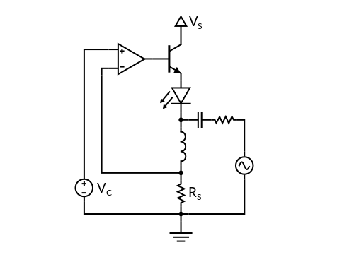 Laser current modulation with a bias-tee