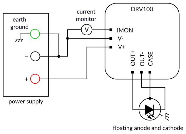DRV100 - Electrical connections (floating anode and cathode)