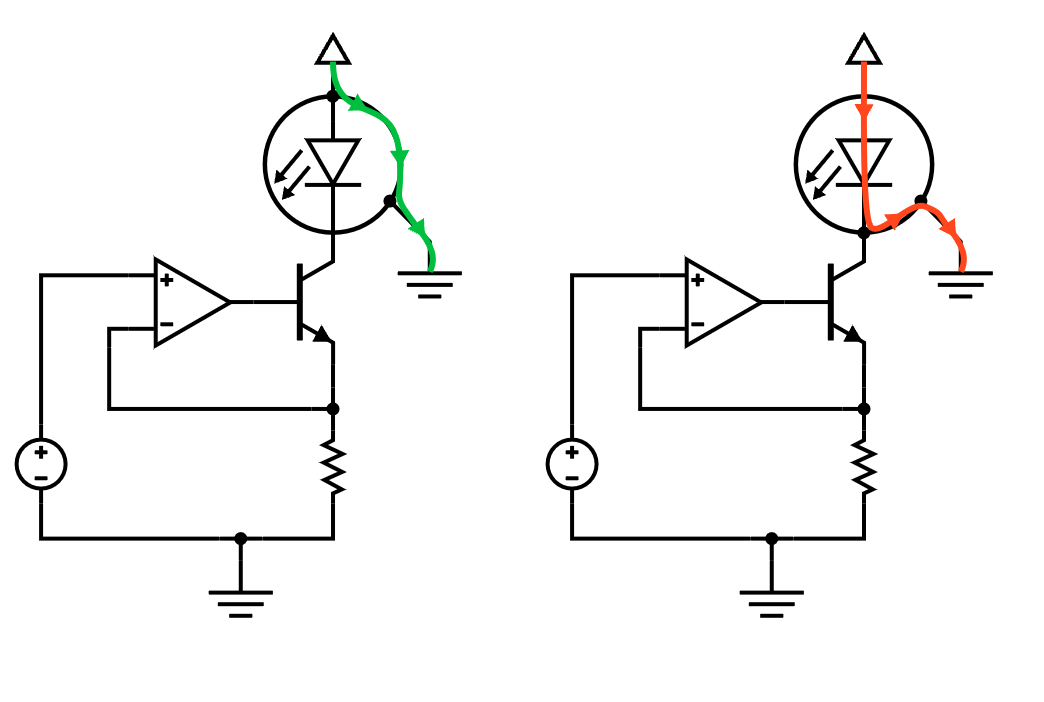 Cathode-grounded diode used with floating diode driver